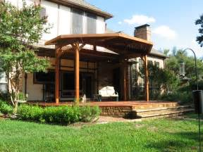 redwood deck with patio cover