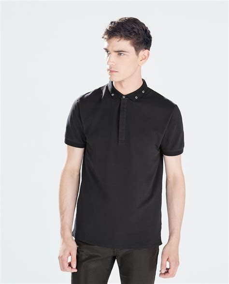 Metallic Detail Shirt Blue zara polo shirt with metallic details on collar in black