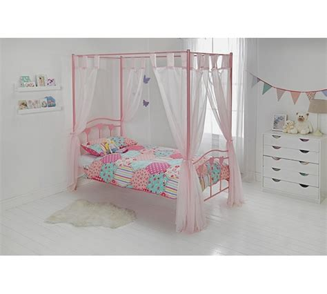 Single Four Poster Bed Frame Buy Home Hearts Single Four Poster Bed Frame Pink At Argos Co Uk Your Shop For