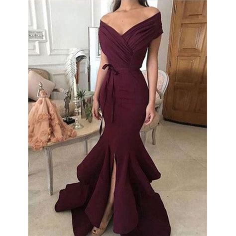 elegant mermaid prom dress  shoulder  neck floor