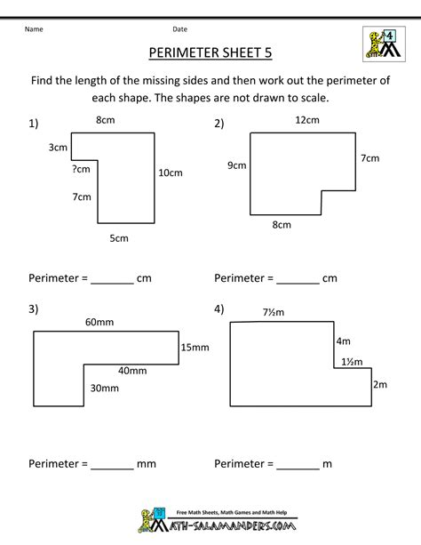 free printable area and circumference worksheets perimeter worksheets