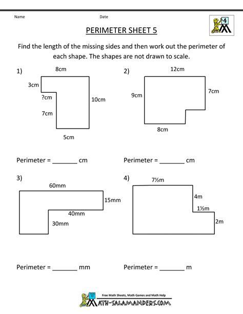 Area Worksheets 3rd Grade by Perimeter Worksheets