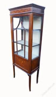 Antique Inlaid Display Cabinet Small Edwardian Mahogany Inlaid Display Cabinet Antiques