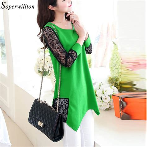 3 4 Sleeve Lace Neck Top chic o neck 3 4 sleeve lace blousetops