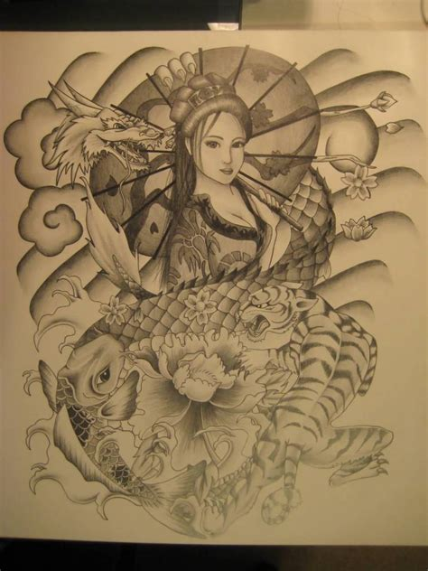 japanese lady tattoo designs koi ideas and koi designs page 9