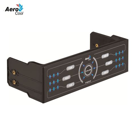 Best Seller Aerocool F6xt Fan Controller Panel Single Bay aerocool f6xt pc fan speed controller 6 sets fans with dual color led panel