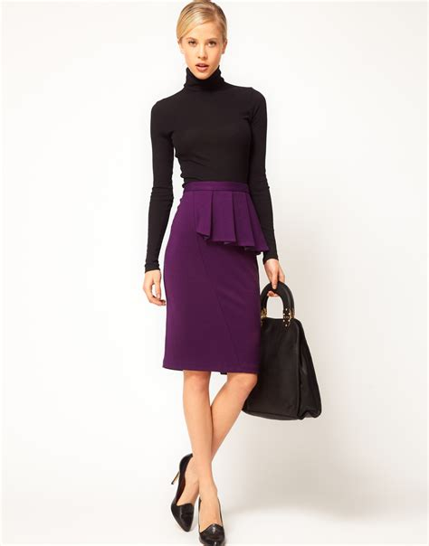 asos collection asos side peplum pencil skirt in purple lyst
