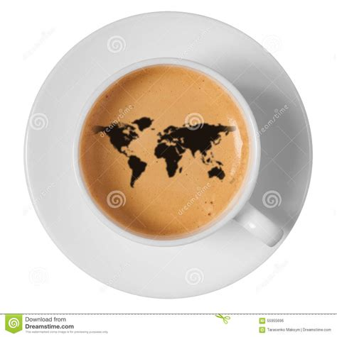 World Map Drawing Art On Coffee Foam In Cup Stock Photo   Image: 55955696