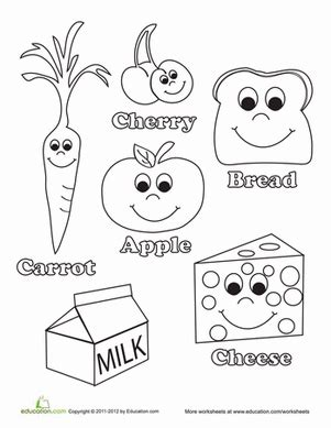 healthy food worksheet education com