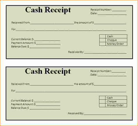 4 word receipt template printable receipt
