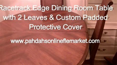 dining room table leaf covers racetrack edge dining room table 2 leaves padded cover