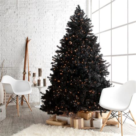 classic black full pre lit christmas tree 7 5 ft