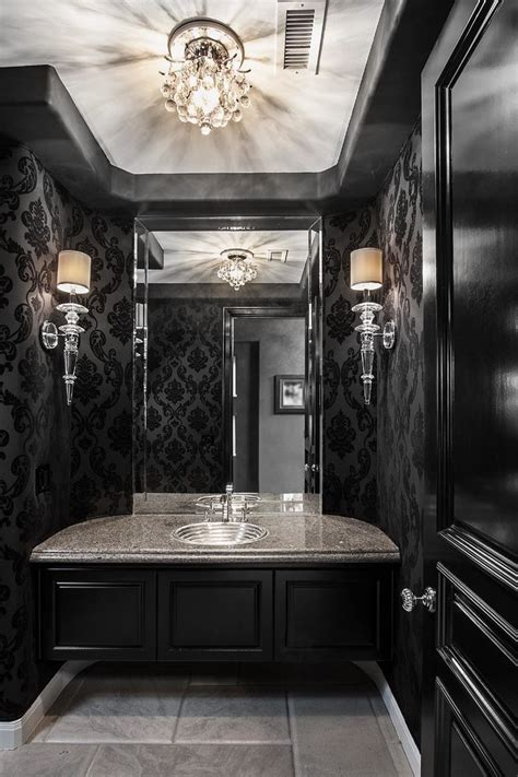 black and silver bathroom wallpaper damask wallpaper bathroom victorian with damask wallpaper lacquered mirror damask