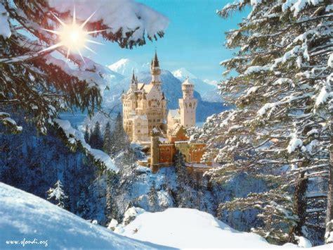 winter of the world neuschwanstein castle bavaria germany sun snow picture neuschwanstein castle bavaria