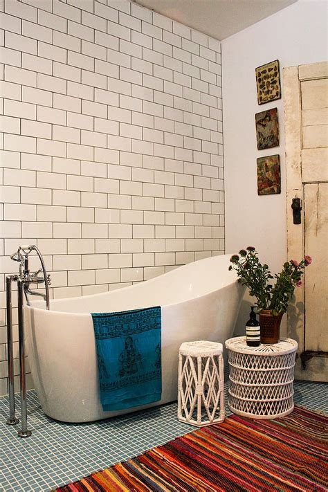 eclectic bathroom little luxury 30 bathrooms that delight with a side table