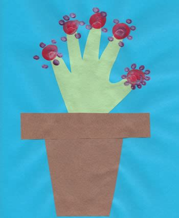 Handprint Flower And Paper Flowerpot Craft Dtlk Crafts