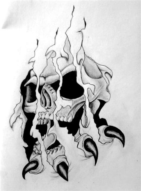 skull ripped skin tattoo sketch real photo pictures