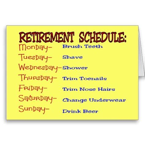 printable retirement jokes retirement schedule funny retirement gifts greeting card