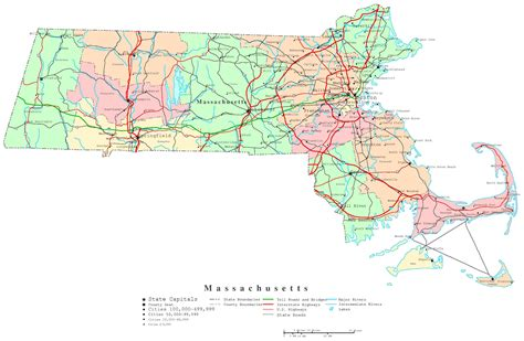 mass map massachusetts printable map