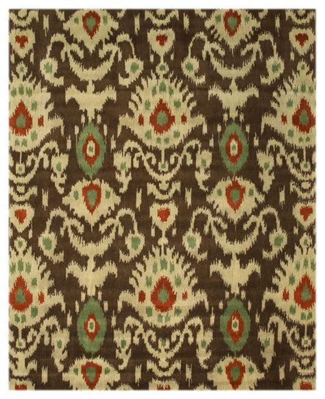 ikat wool rug ie26bn brown tufted wool ikat rug 7 9x9 9 contemporary area rugs by eorc