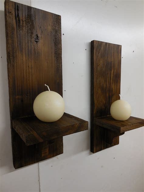 Wood Wall Sconce Rustic Wall Sconces Primitive Candle Holderswooden Sconces
