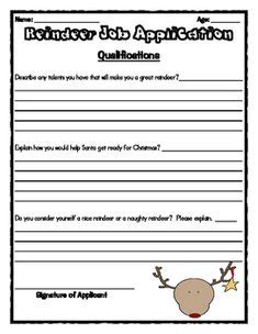 printable reindeer application santa s reindeer job application cute writing assignment