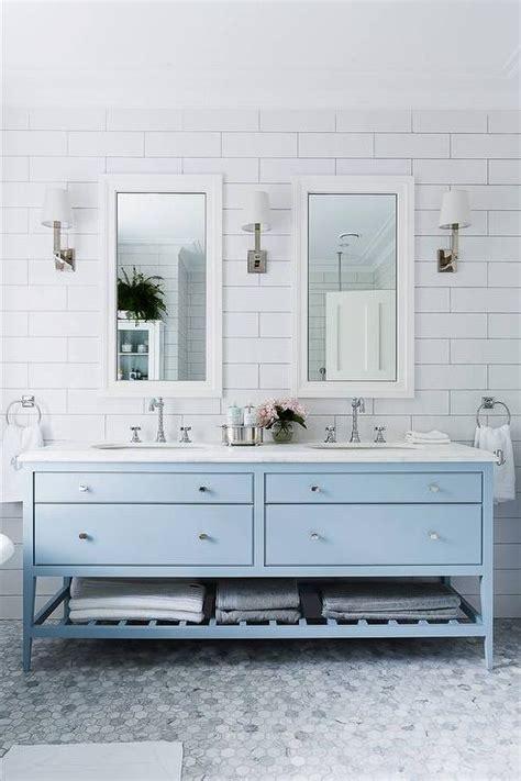 Sky blue bathroom vanity transitional bathroom