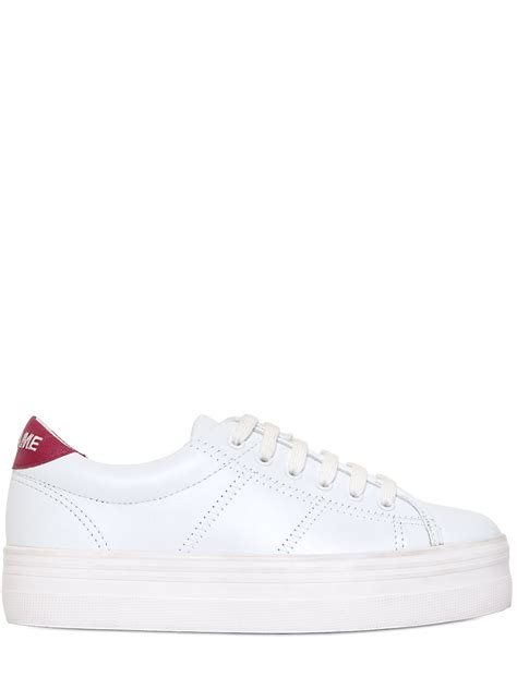 no name platform sneakers no name 40mm plato leather platform sneakers in white lyst