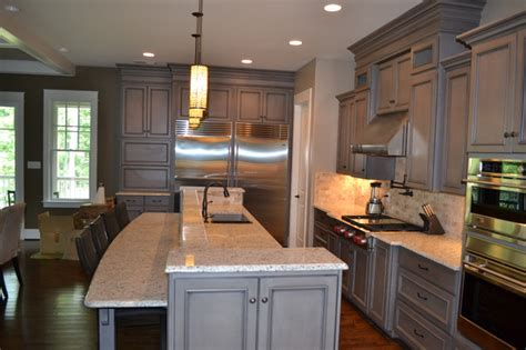 Gray Stained Cabinets With Black Glaze Richmond By Black Stained Kitchen Cabinets