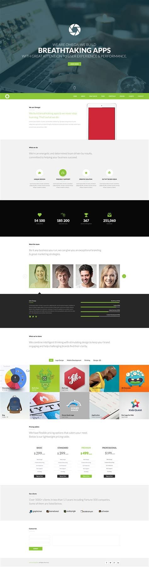 free one page website template psd omega