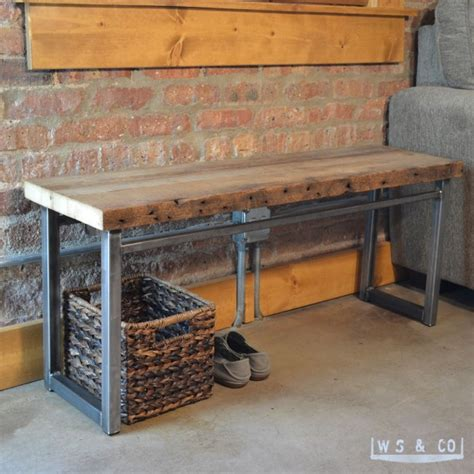 wood bench with metal legs bench 48 quot reclaimed wood metal legs aftcra