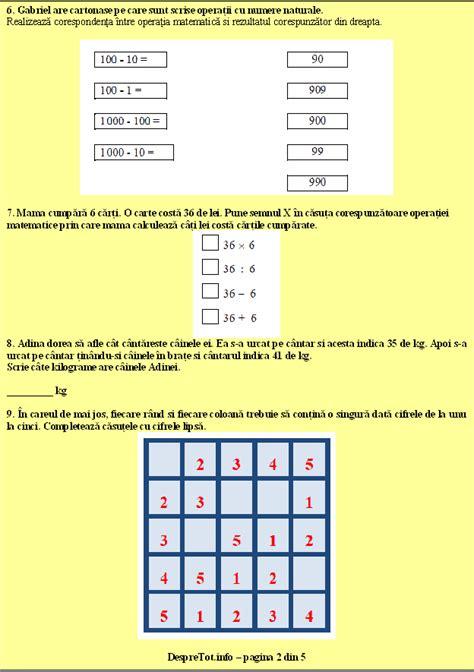 test matematica teste pisa evaluare nationala matematica clasa 4 varianta 1