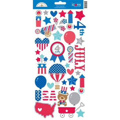 doodlebug stickers doodlebug design patriotic parade collection cardstock