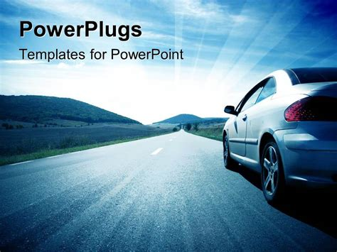 Powerpoint Themes Cars | powerpoint template a car on the road with clouds in the