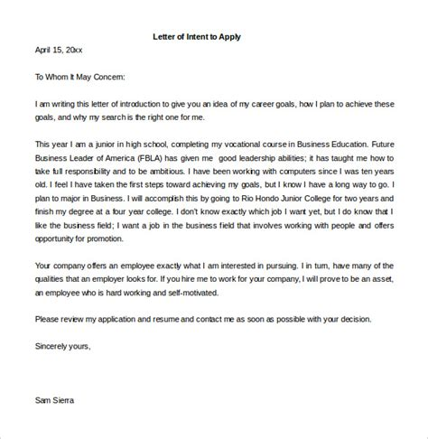 10 employment letter of intent template free sle exle format free