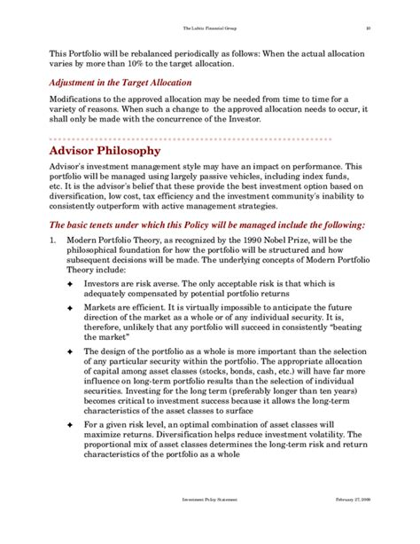 Standard Investment Policy Statement Free Download Investment Policy Statement Template