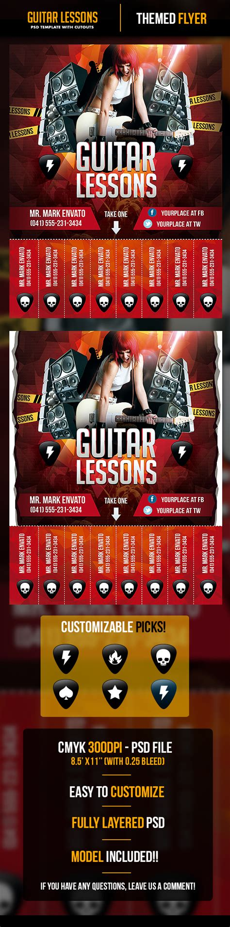 Guitar Lessons Flyer Template With Cutouts By Odindesign On Deviantart Guitar Lesson Flyer Template