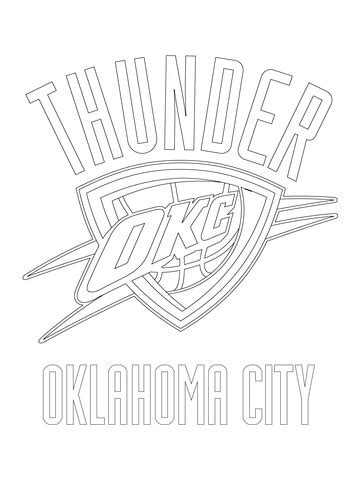 okc coloring pages oklahoma city thunder logo coloring page free printable