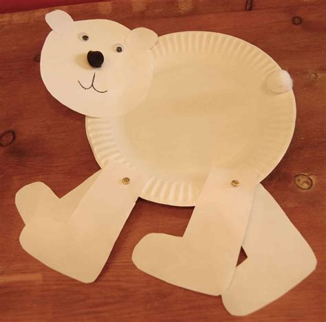 Winter Animal Crafts - made from a paper plate and plastic hibernation preschool
