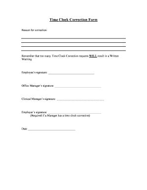 Time Clock Correction Form Template Time Correction Fill Online Printable Fillable Blank Pdffiller