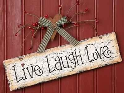 primitive hanging wood sign live laugh home decor