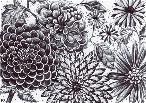 Trippy Home Decor by Black And White Flowers Original Ink Drawing Moonlight