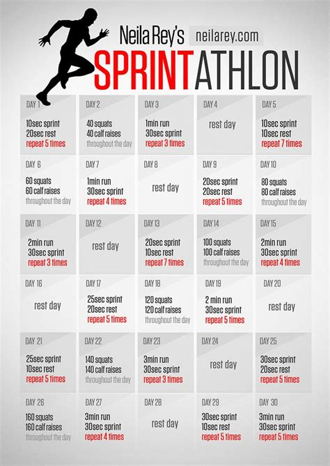 30 day sprintathlon running program workout challenges