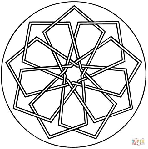 simple geometric mandala coloring page free printable