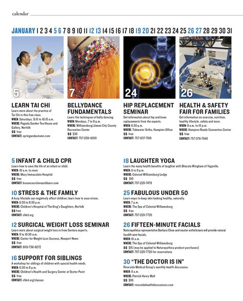 event magazine layout calendar of events the health journal fitness