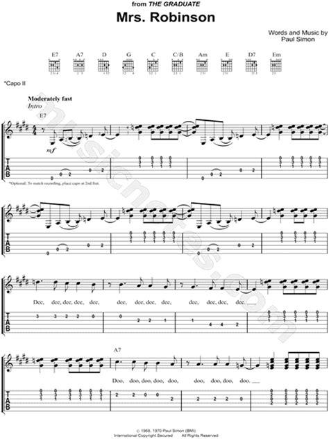 guitar tutorial mrs robinson simon garfunkel quot mrs robinson quot guitar tab in e major
