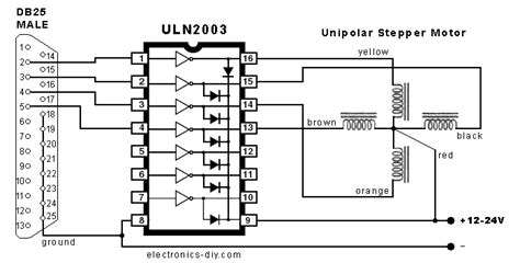 transistor uln2003an datasheet uln2003 stepper motor by parallel port electronic projects circuits