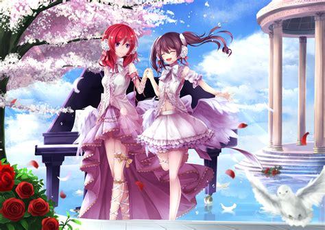 Dress Niko Pink in pink dresses maki nishikino and yazawa nico anime