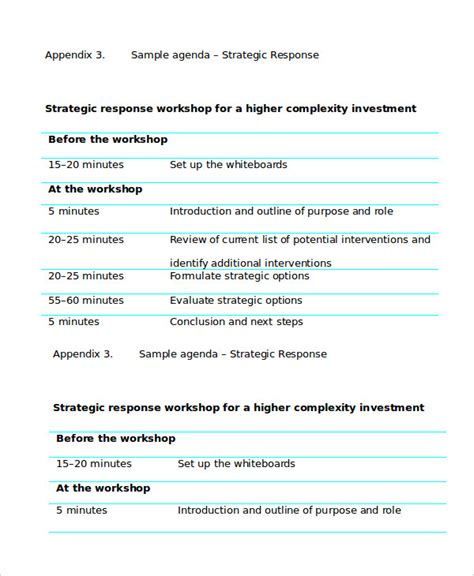 templates for workshop agenda workshop agenda template 6 free word pdf documents