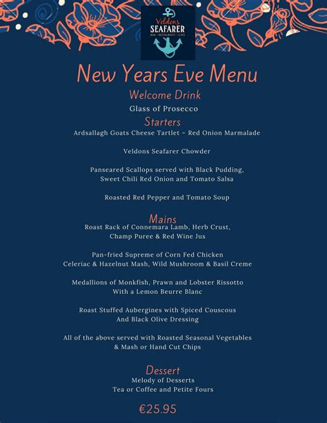 new year catering menu 2015 events veldons seafarer bar restaurant letterfrack
